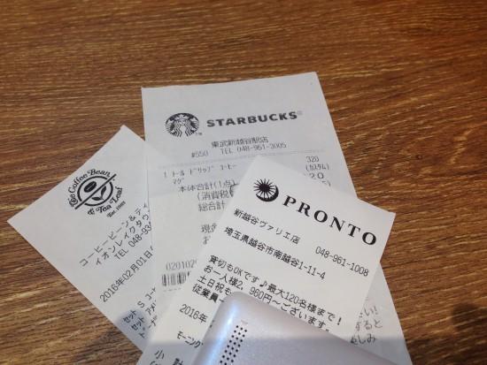 カフェの領収書